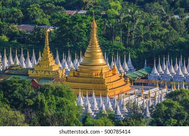 Mandalay city, Sanda Muni pagoda and Some of the 729 stupas, Mandalay, Myanmar.