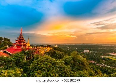 Mandalay Hill is a major pilgrimage site. A panoramic view of Mandalay from the top of Mandalay, Mandalay, Myanmar
