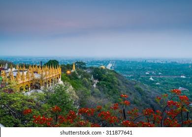 Mandalay Hill Temple overlooking the Mandalay Palace's Moat
