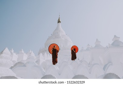 MANDALAY, HSINBYUME PAGODA, MYANMAR . MARCH 1ST 2019. Children monks spending time together at the pagoda. In myanmar childrens start the training to become monks at the age of seven