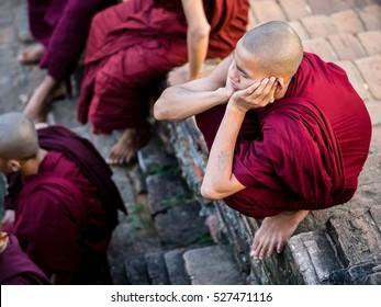 Mandalay, Myanmar - Circa November 2016 - Traditonal buddhist monks in Myanmar