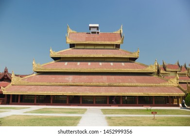 MANDALAY , MYANMAR - MAR 5: The architecture in Mandalay palace, which housed old time King in Mandalay, Myanmar on March 5 2015.