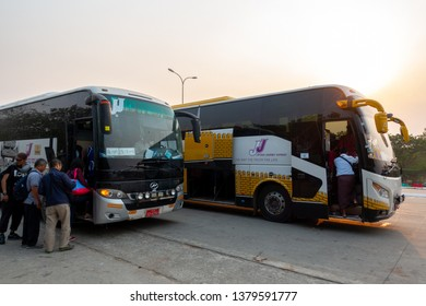 Mandalay, Myanmar - March 31, 2019 : Popular VIP bus among tourists, JJ Express with it's free shuttle