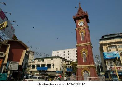 Mandalay, Myanmar - March 4 2015: The clock tower in Zegyo Market.