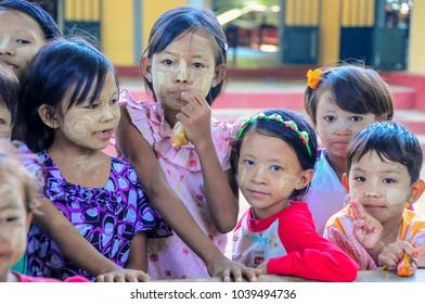 Mandalay, Myanmar - November 19 2014.  Burmese children at village school waiting for class to start