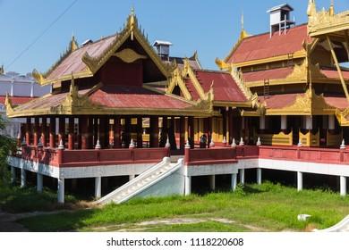 MANDALAY, MYANMAR - NOVEMBER 24, 2014: Moat and Fortress Walls, the Mandalay Fort, in Mandalay, Myanmar