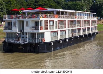 MANDALAY, MYANMAR - NOVEMBER 25, 2014: Unidentified Myanmar classic cruise liner from Mandalay to Bagan on Irrawaddy river in Mandalay, Myanmar.
