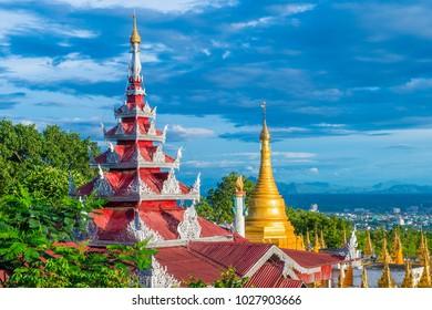 MANDALAY, MYANMAR - SEP 03 : A panoramic view of Mandalay from the top of Mandalay Hill in Myanmar on September 03 2017 , Mandalay Hill is a major pilgrimage site.