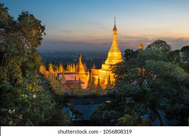 Mandalay, Myanmar - view of a temple at Mandalay Hill during the sunset