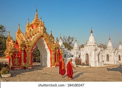 MANDALAY, MYANMAR-FEBRUARY 25, 2014: Kuthodaw Pagoda after restoration in 2013.Kuthodaw Pagoda is the World's Biggest Book(Stone Library)and one of the most revered among Buddhists monks and pilgrims.