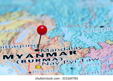 Mandalay pinned on a map of Asia