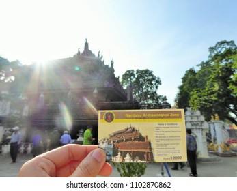 Mandalay/Myanmar - Decemver 9, 2016 : Shwenandaw Monastery is a historic Buddhist monastery located near Mandalay Hill, Mandalay Region, Myanmar.