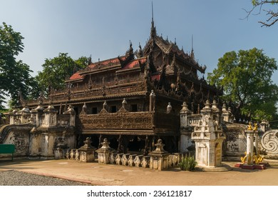 Mandalays Shwenandaw Kyaung or Shwenandaw Monastery, also known as the Teak Temple, features traditional burmese architecture