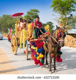 MANDALEY, MYANMAR-MARCH 5, 2017: Burmaneses at Shinbyu (pabbajja) ceremony of Theravada Buddhism near Mandaley on March 5, 2017, Mandaley. Myanmar. (Burma)