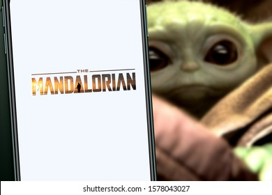 The Mandalorian logo smart phone that is a web television series. United States, Wednesday, January 15, 2020