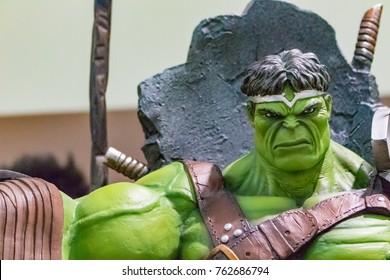 Mandaluyong City / Philippines -  01/16/2016: World War Hulk statue sitting on throne