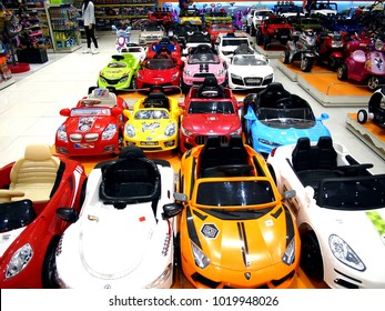 MANDALUYONG CITY, PHILIPPINES - JANUARY 21, 2018: Assorted children's toy cars on display at a toy store in a shopping mall.