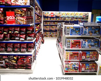 MANDALUYONG CITY, PHILIPPINES - JANUARY 21, 2018: Assorted toys on display at a toy store in a shopping mall.