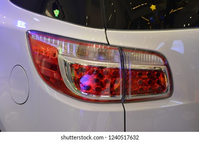 MANDALUYONG, PH - NOV. 22: Chevrolet Trailblazer sub urban vehicle brake light on November 22, 2018 in Mandaluyong, Philippines. Chevrolet brand is a manufacturer of cars in USA.