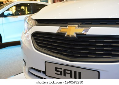 MANDALUYONG, PH - NOV. 22: Chevrolet Sail front part detail on November 22, 2018 in Mandaluyong, Philippines. Chevrolet brand is a manufacturer of cars in USA.