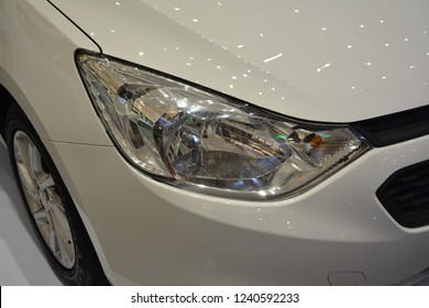 MANDALUYONG, PH - NOV. 22: Chevrolet Sail head light on November 22, 2018 in Mandaluyong, Philippines. Chevrolet brand is a manufacturer of cars in USA.