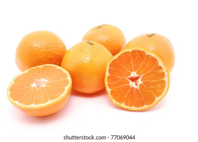 Mandarin with cut Isolated on white