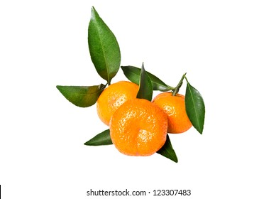 Mandarin isolated on the white background.