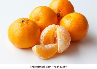 Mandarin isolated on white background.