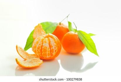 mandarin with leaf