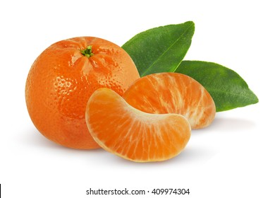 Mandarin with leaves on white background with clipping path. Tangerine with leaves on white background.