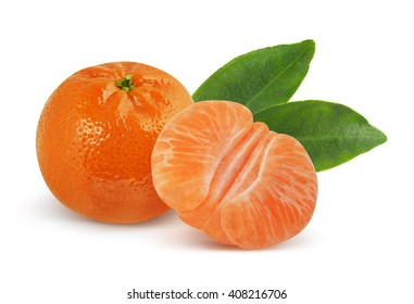 Mandarin with leaves on white with clipping path. Tangerine with leaves on white background.