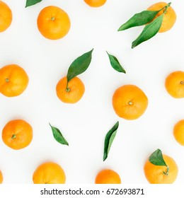 Mandarin on white background. Flat lay. Top view