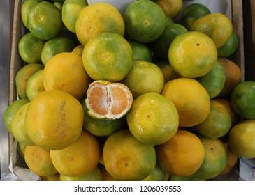 Mandarin orange (Citrus reticulata) top view