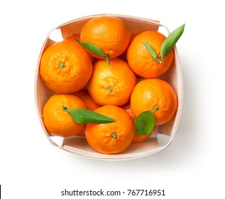 Mandarin orange fruits, tangerine, clementine isolated on white background. Top view