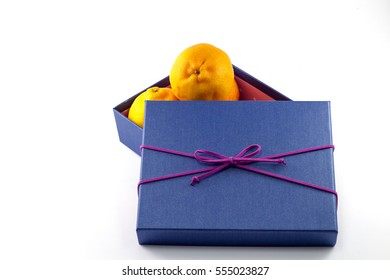 Mandarin Orange in the gift box were opened with a white background