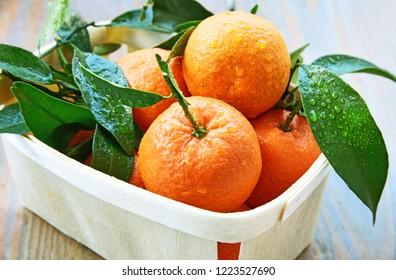 mandarin orange or mandarine in basket for sale in supermaket with wooden floor