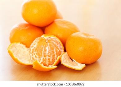 Mandarin orange on the table
