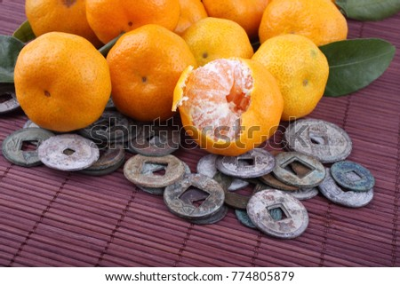 Mandarin Oranges Ancient Chinese Coins On Stock Photo Edit Now