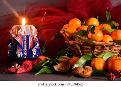 mandarin oranges in a wicker basket