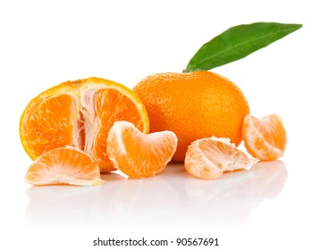 mandarin with segment and leaf isolated on white background