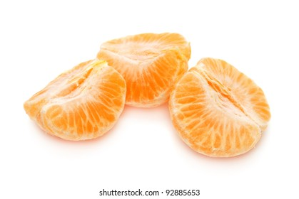 Mandarin slices on white background