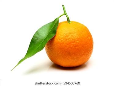 Mandarin, tangerine citrus fruit, with green leaf, isolated on white background.