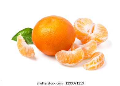 Mandarin, tangerine citrus fruit isolated on white background.with cliupping path