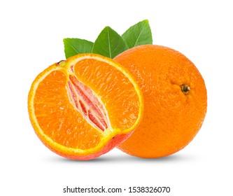 Mandarin, tangerine citrus fruit isolated on white background.