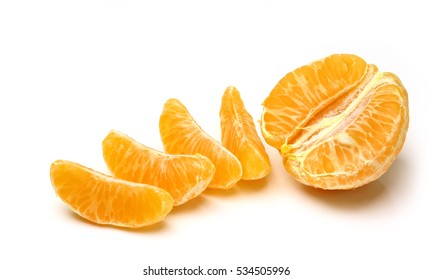 Mandarin, tangerine citrus fruit isolated on white background. Pile of a fresh oranges and several segment of peeled citrus.