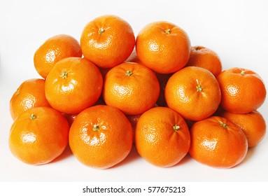 Mandarin, tangerine citrus fruit isolated on white background