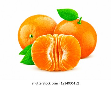 Mandarin or tangerine isolated on white background with clipping path
