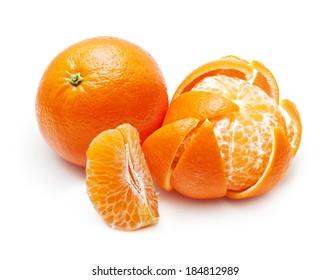 Mandarin, tangerine, orange citrus fruit isolated on white background.