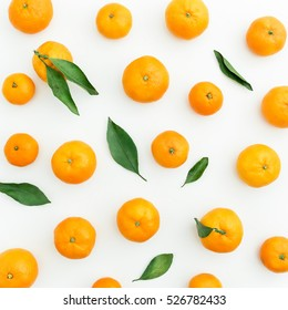 Mandarin. White Background. Flat lay