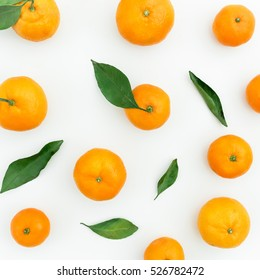 Mandarin. White Background. Flat lay